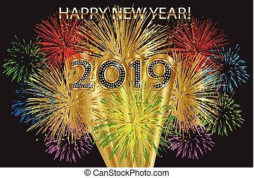 novo, fogos artifício, 2019, feliz, ano