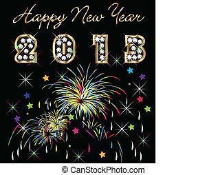 novo, fogos artifício, feliz, 2013, ano