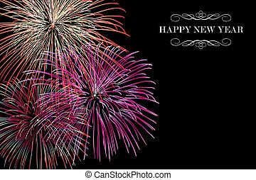 novo, fogos artifício, feliz, fundo, ano