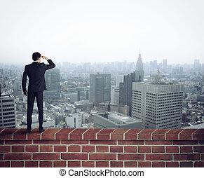 novo, futuro, olha, oportunidades, homem negócios