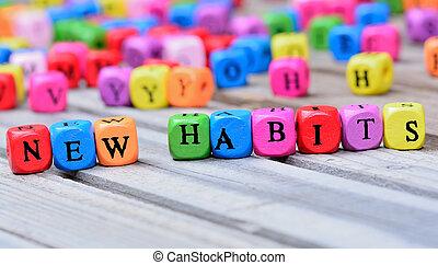 novo, hábitos, palavras, tabela