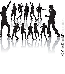novo, jogo, cantando, dançar, pessoas