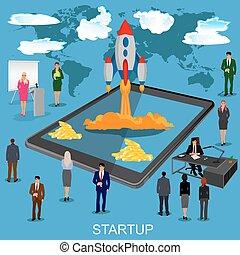 novo, lançando, startup, negócio