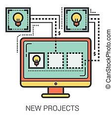 novo, linha, infographic., projetos