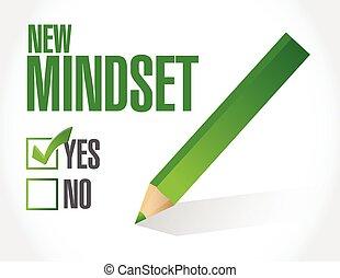 novo, lista, cheque, ilustração, mindset