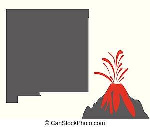 novo, mapa, vulcão, méxico