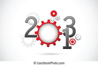 novo, mecânico, ano, feliz