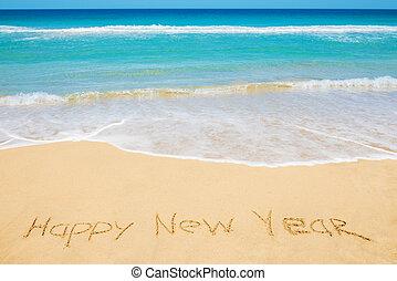 novo, mensagem, feliz, praia, ano