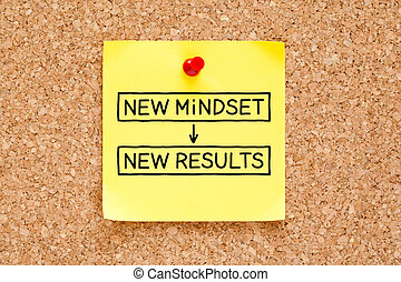 novo, mindset, novo, resultados, nota pegajosa