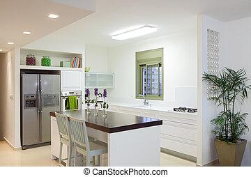 novo, modernos, cozinha, lar
