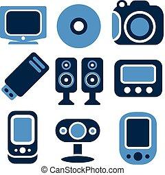 novo, multimedia, ícones