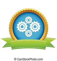 novo, ouro, mecanismo, logotipo
