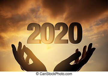 novo, pôr do sol, ano, silueta, mãos, 2020, conceito, contra