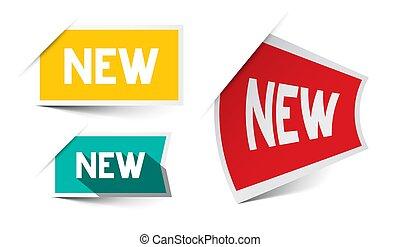 novo, papel, vetorial, etiquetas, jogo, isolado, branco, fundo