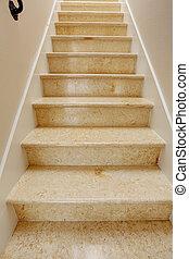 novo, passos, mármore, escadaria