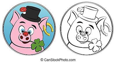 novo, porca, coloração, símbolos, afortunado, folha, trevo, ...