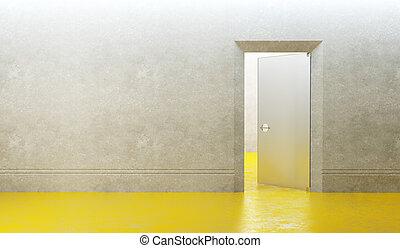 novo, porta, sala, vazio