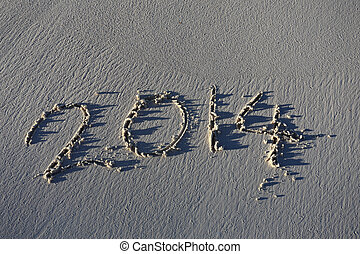 novo, praia areia, mensagem, ano