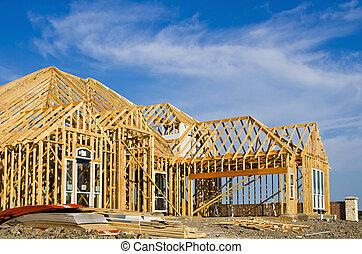 novo, quadro, construção, lar