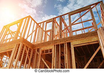 novo, residencial, construção, lar, formule, contra, um, azul, sky.