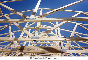 novo, residencial, construção, lar, formule, contra, um, céu azul, e, sol