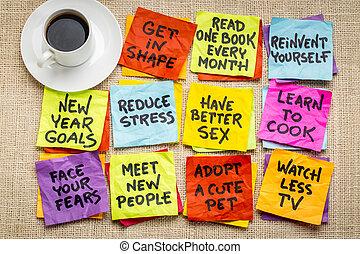 novo, resolutions, ano, ou, metas