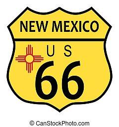 novo, rota, bandeira, 66, méxico