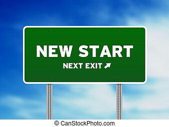 novo, rua, início, sinal