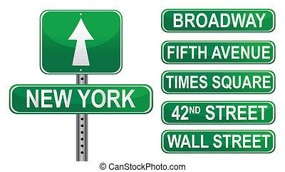 novo, rua, york, sinais
