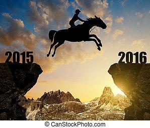 novo, saltar cavalo, ano