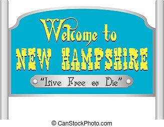 novo, sinal, hampshire, bem-vindo