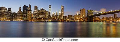 Novo,  Skyline, cidade,  Manhattan,  York