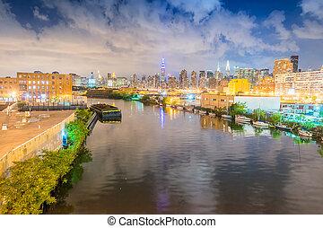 Novo,  Skyline, cidade,  York, noturna