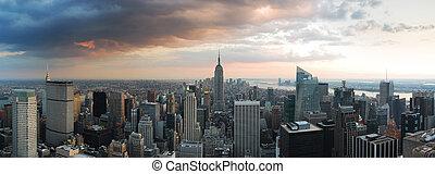 novo, skyline, cidade, york, panorama