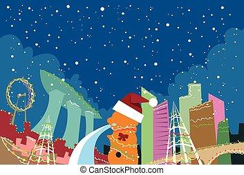 novo, skyline, natal, cidade singapore, arranha-céu, ano, silueta