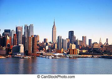 novo, skyline, york, cidade