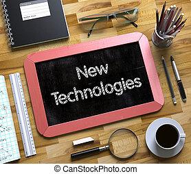 novo, tecnologias, conceito, ligado, pequeno, chalkboard., 3d.