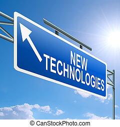 novo, tecnologias, concept.