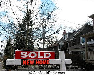 novo, vendido, lar