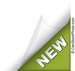 novo, verde, página, canto