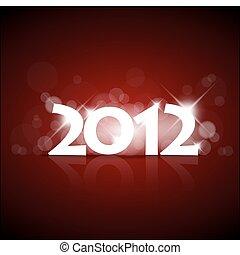 novo, vetorial, ano, cartão, 2012