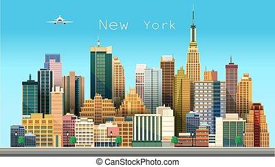 Novo, vetorial, cidade,  York, Ilustração