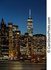 Novo, vista, cidade,  York, noturna