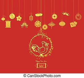 novo, year., ano, chinês, galo