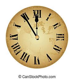 novo, year?s, relógio, isolado