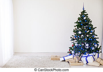 Christmas tree decoration in white room