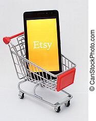 novorossiysk, ロシア連邦, -, oct, 15, 2017:, -, a, smartphone, ∥で∥, ∥, etsy, app, 中に, a, 買い物, cart., ∥, concept., オンライン ショッピング, を経て, smartphone, 適用