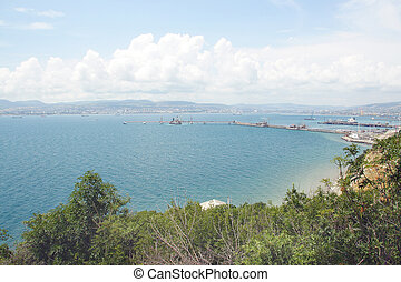 landscape whith the image of the sea port and the city of Novorossiysk