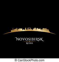 novosibirsk, ロシア, 都市 スカイライン, シルエット, 黒い背景