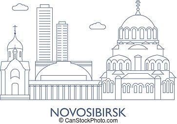novosibirsk, il, la maggior parte, famoso, costruzioni, di, città
